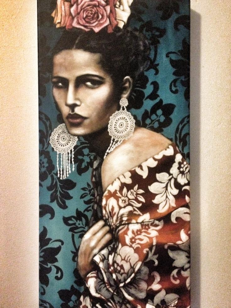 """La Senorita"" on my wall :: Tania Wursig :: Fellow Mama :: Local Artisan & Gallery Owner :: Gallery Aloft    http://www.taniawursig.com/  http://www.galleryaloft.com/"