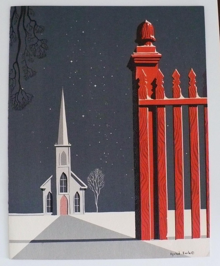 Vintage Christmas card by artist Eyvind Earle. 1950s