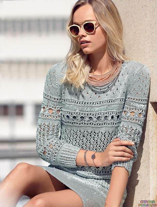Ажурный джемпер с эффектом металлик - Жакеты,Пуловеры, свитера - Вязание спицами - Рукоделие