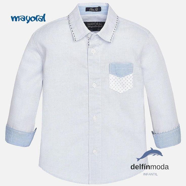 Camisa de bebe para niño MAYORAL de manga larga topos azul