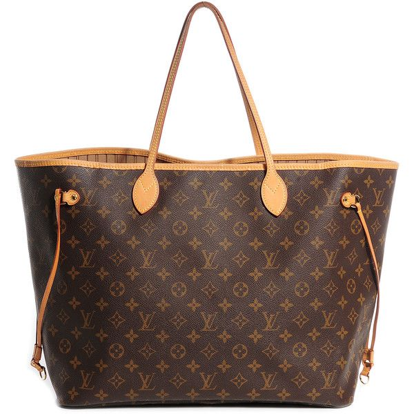 Louis Vuitton Monogram Neverfull Gm Liked On Polyvore Featuring Bags Handbags Tote Purses Bolsa Striped Bag Brown