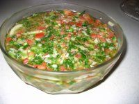 Tomato Vinaigrette that goes over the rice and beans.