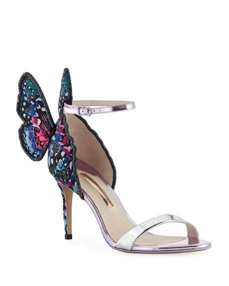8db2fe99b8 Chiara Embroidered Butterfly Satin Sandal by Sophia Webster at Neiman Marcus