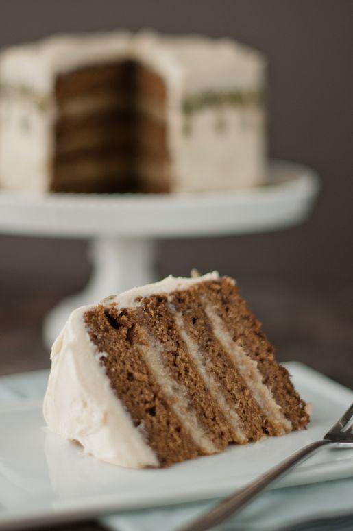 Cinnamon-Caramel Pumpkin Cake w Creamy Banana-Rum Filling