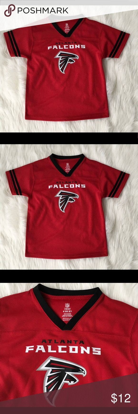 "Atlanta Falcons Youth Football NFL Jersey SZ S 6/7 Atlanta Falcons Boys Jersey NFL Team Apparel  Boys Size Small 6/7 Red Arm Pit to Arm Pit 16.5"" laying flat  Total Length 21"" Clean and Smoke Free Home NFL Team Apparel Shirts & Tops"