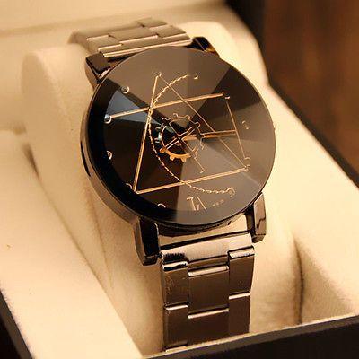 Reloj De Mujer Hombre Acero Pulsera Cuarzo Análogo Negro