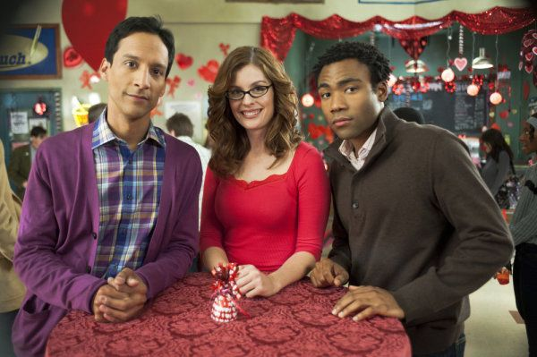 Danny Pudi as Abed, Maite Schwartz as Mariah and Donald Glover as Troy on Commun...