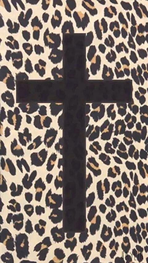 Cheetah print wallpaper with black cross
