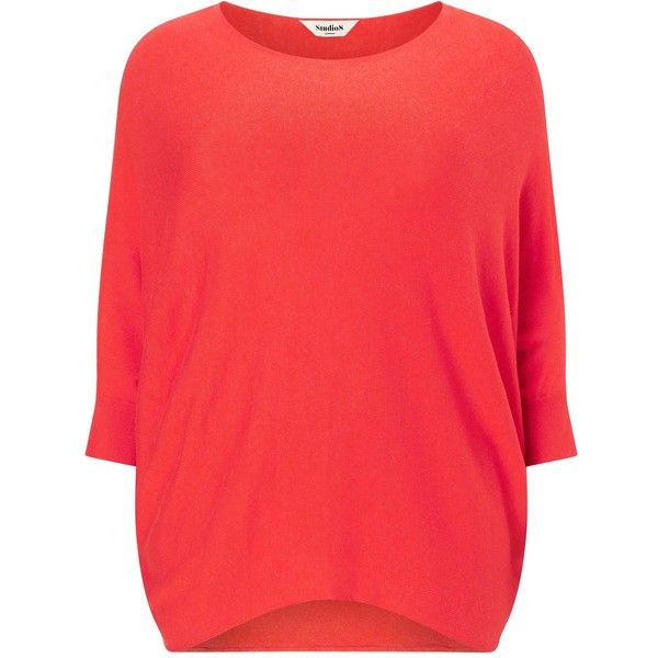 Studio 8 Plus Size Beth batwing jumper ($72) ❤ liked on Polyvore featuring tops, sweaters, clearance, orange, red top, plus size batwing tops, womens plus sweaters, orange sweater and plus size tops