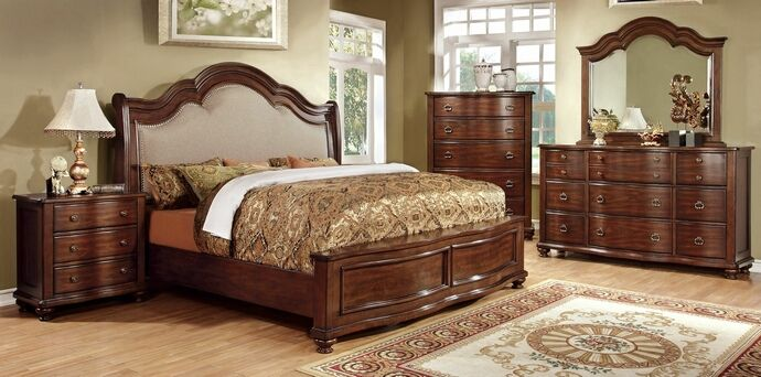 5 pc Bellavista collection brown cherry finish wood Queen bed set with padded fabric headboard