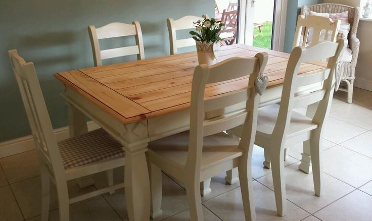 Shabby Chic Farmhouse Pine Table With Drawers And 6 Chairs In Laura Ashley White Painted By Myself Pinterest