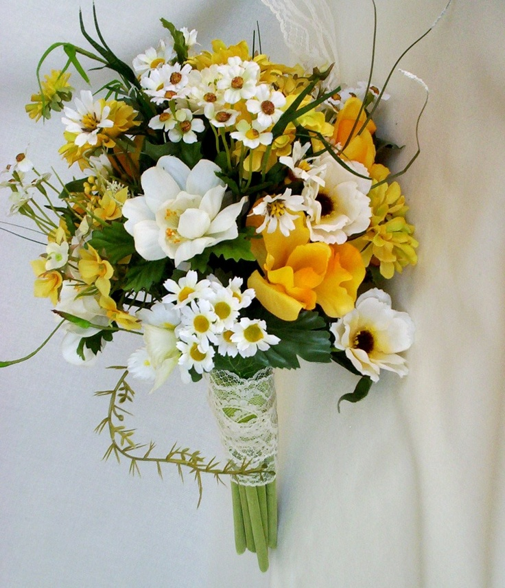 Wild Flower Wedding Bouquet: Spring Wedding Flowers Yellow Wildflowers Silk Rustic