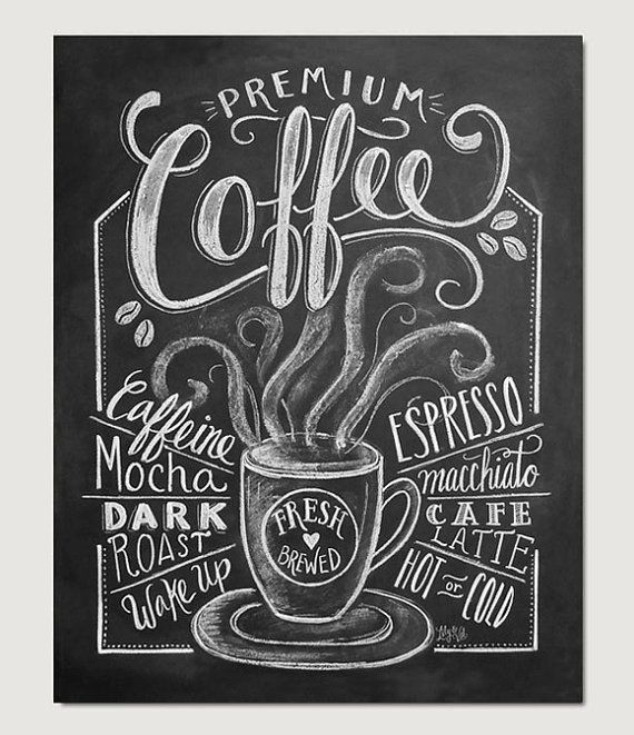 Coffee Love Coffee Art Print Chalkboard Art by LilyandVal