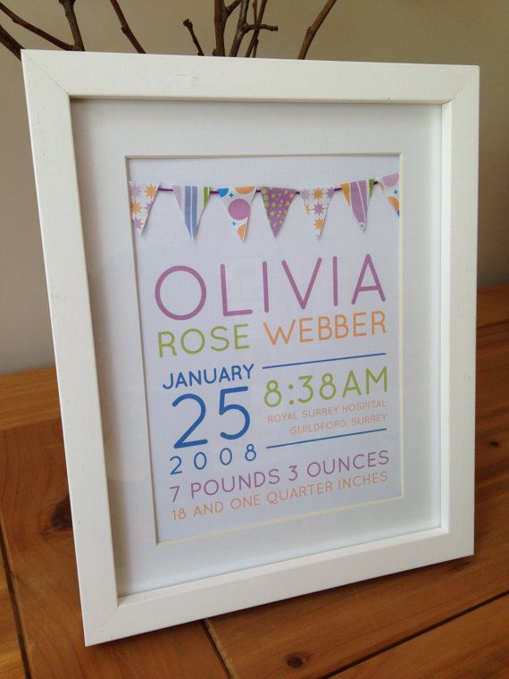 Personalised New Baby Girl Birth Information / Announcement / Christening Gift - Celebrations