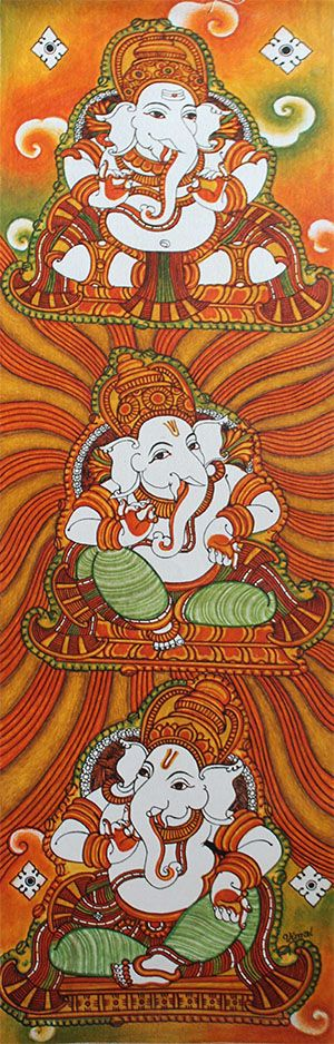 883 best kerala mural paintings images on pinterest for Mural art of ganesha
