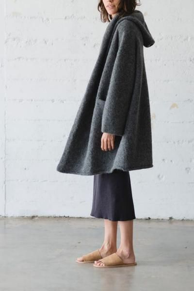 All time favorite hooded alpaca coat from Lauren Manoogian Blanket like soft texture Relaxed, oversized fit Open front with shawl Two front pockets 93% baby alp