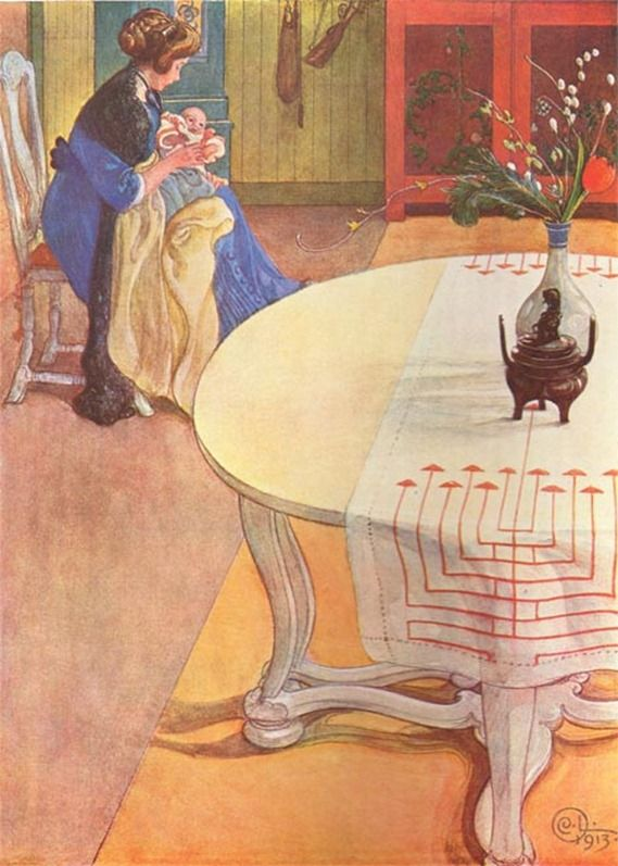 Gunlög with her Mother 1913 Carl Larsson  Check out the Swedish weaving on the cloth on the table.