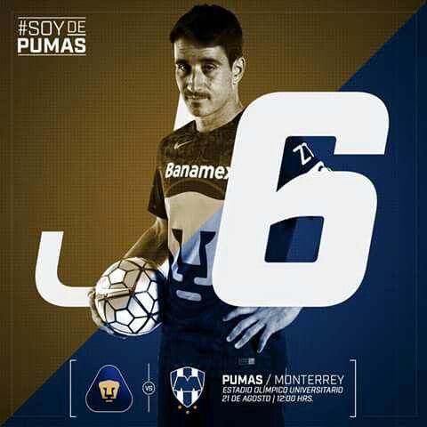 Pumas Vs Monterrey  Jornada 6 | Estadio Olímpico Universitario | 12:00 Hrs.  #SoyDePumas