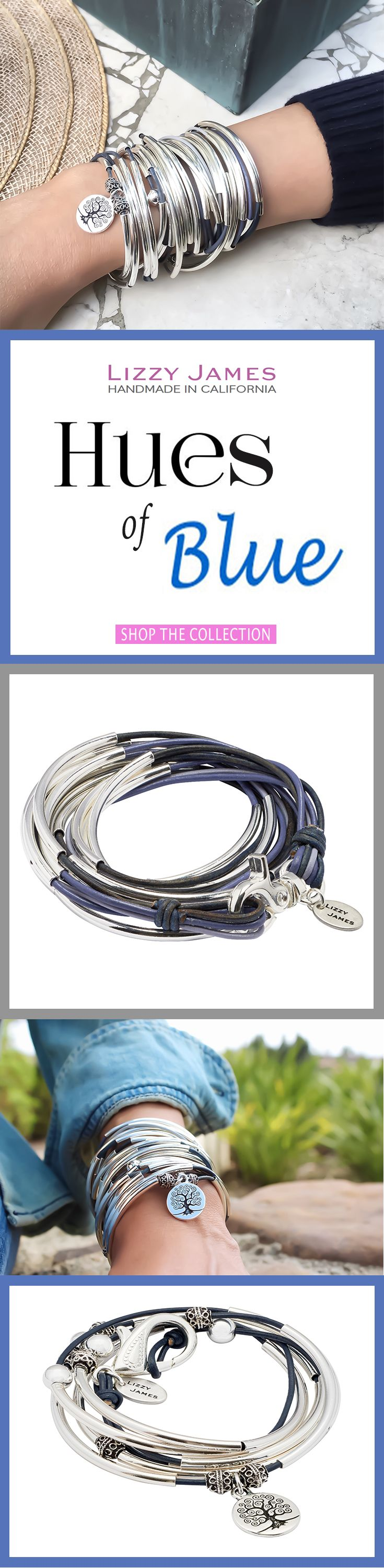 Lizzy James Jewelry adds hues of blue to your style! Featuring leather & cotton cord wrap bracelets that can also be worn as necklaces, our designs fit all wrist sizes from petite to plus size. Available in 50+ leather colors! Proud to be made in the USA!   #LizzyJames