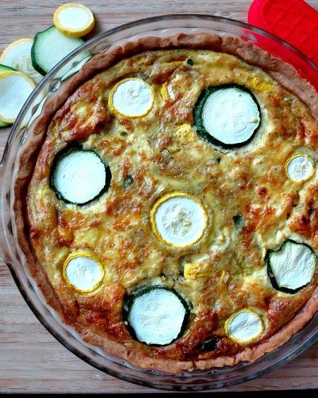 Pesto Infused Summer Squash and Zucchini Quiche