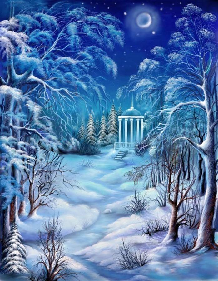 Лунная зимняя ночь картинки очень