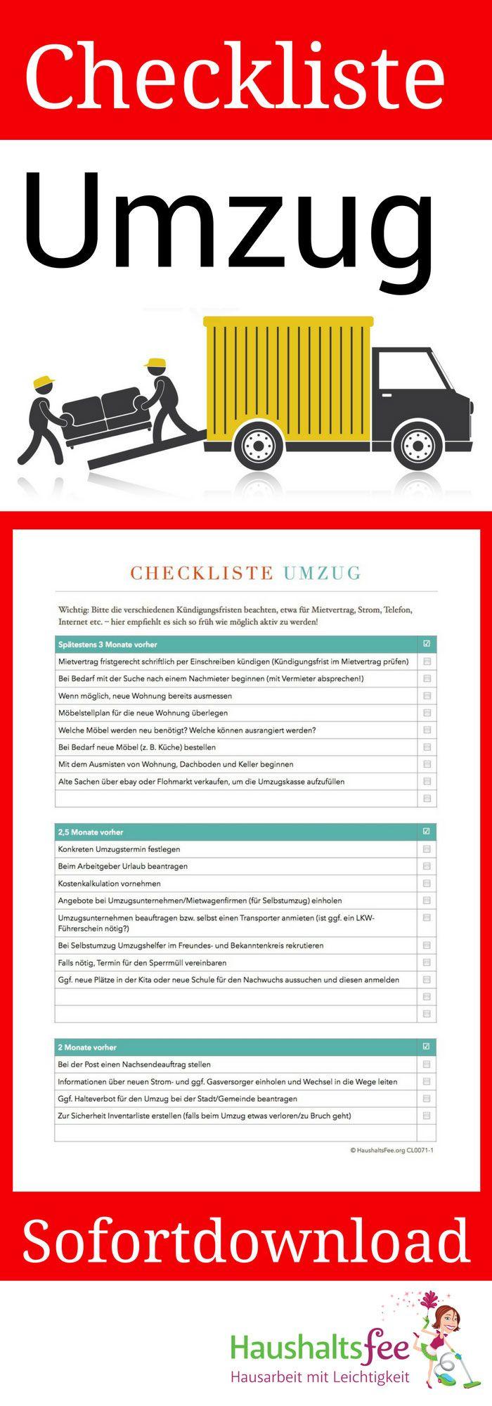 Checkliste Umzug – 89 Dinge, die beachtet werden müssen. Lade die hier die Checkliste herunter.