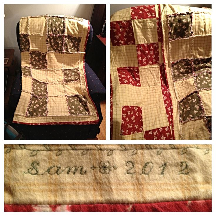 Quilt for Christmas present. Green squares on front/red squares on bag. Easy rag quilt!