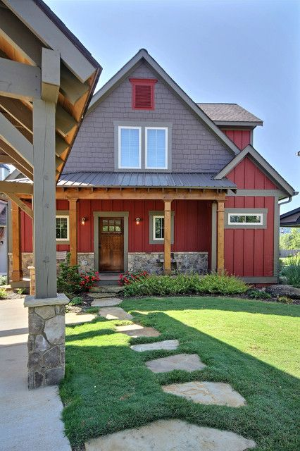 t111 siding Exterior Farmhouse with board and batten siding gray shingles gray trim landscaping