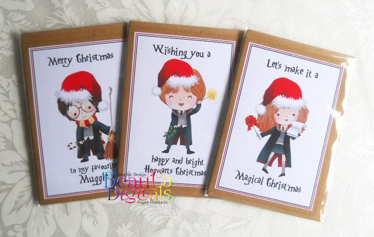 Harry Potter Christmas Novelty Greeting Card - 3 pack
