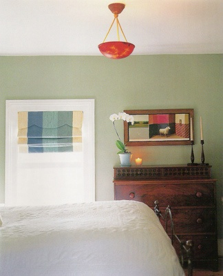 bedroom wall color idea and roman blinds. Gray Green ...