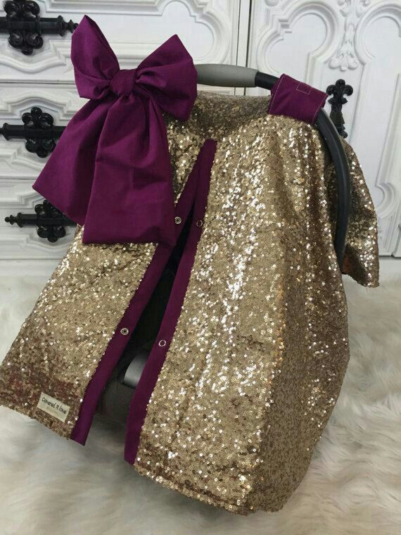 Maroon & Gold Sequin Carseat Canopy
