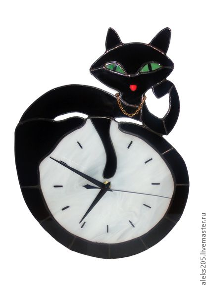 Кошечка - часы,настенные часы,витражные часы,кошка,авторские часы,витражное стекло