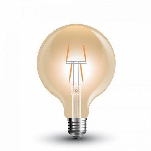 LED lámpa , égő , izzószálas hatás , gömb , E27 foglalat , G80 , 4 Watt , borostyán sárga , meleg fehér , vintage