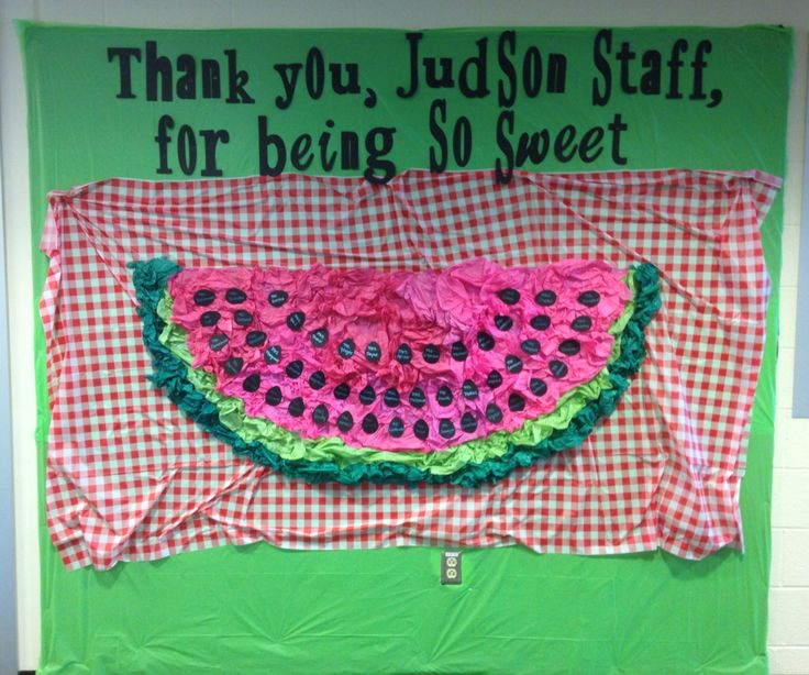 "Staff Appreciation bulletin board, picnic theme, watermelon. I made it by stapling crumpled tissue paper to poster board. The ""seeds"" are Easter eggs cut with the Cricut and they have the staff members' names on them."