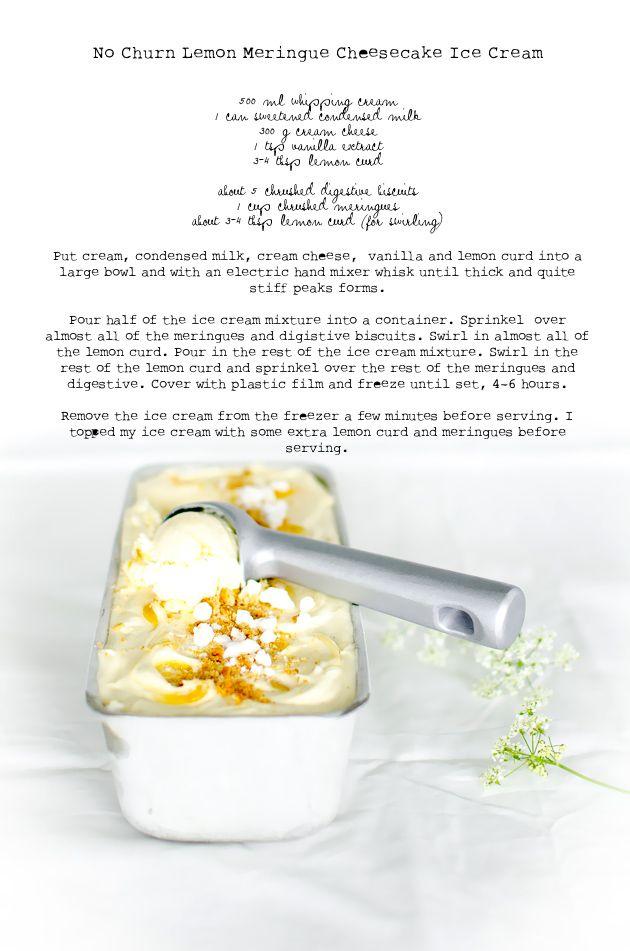 Louise´s Spis: No Churn Lemon Meringue Cheesecake Ice Cream (Citronmarängglass)
