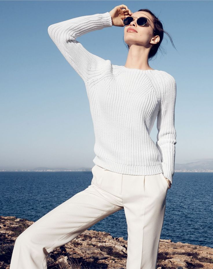 J.Crew women's mixed stitch sweater, Collection wide-leg trouser pant, and Ray-Ban retro round sunglasses.