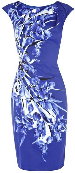 KAREN MILLEN ENGLAND Fractured Flower Print Dress - Lyst. the print is crowning glory.