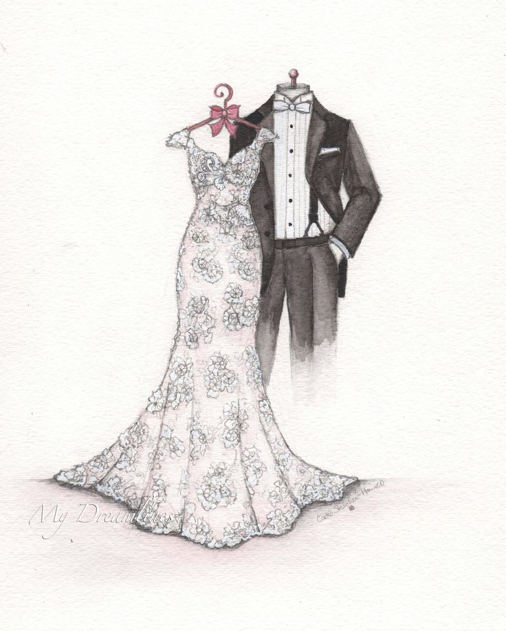 First Anniversary Gift For The Wife Wedding Dress Sketch With Groom By Catie Stricker