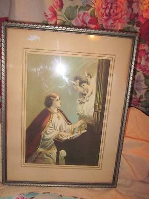 ANTIQUE-LITHO-ST-CECELIA-CHERUB-ANGELS-RELIGIOUS-BEAUTY
