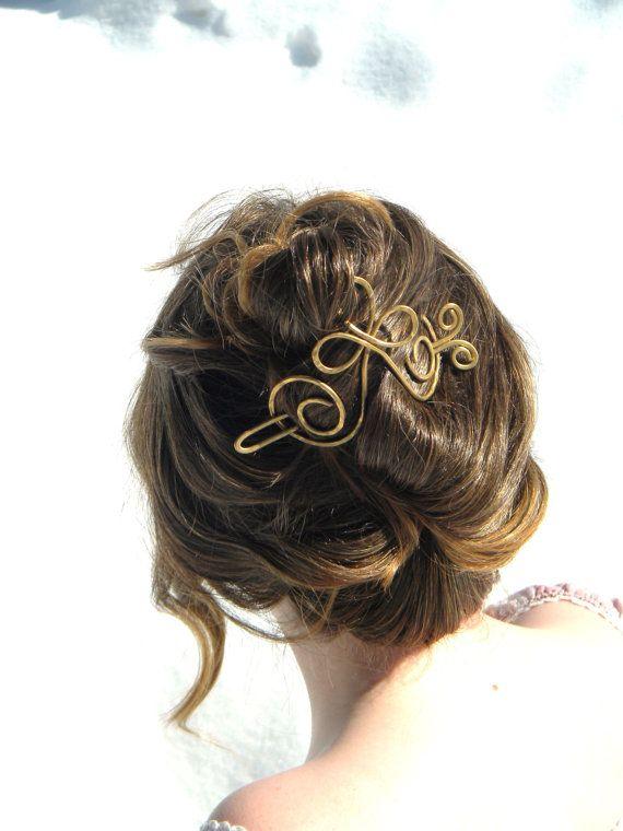 Gold Hair Brooch Bridal Hair Brooch Cross Hair by ElizabellaDesign, $20.00