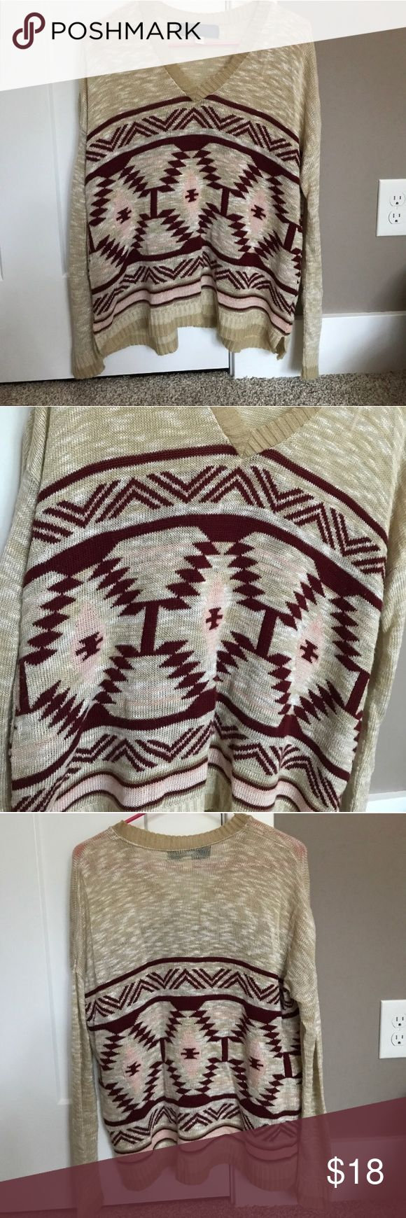 Francesca's Tribal Print Sweater Adorable tan sweater from Francesca's, gently worn. Soft and comfy fit. Francesca's Collections Sweaters