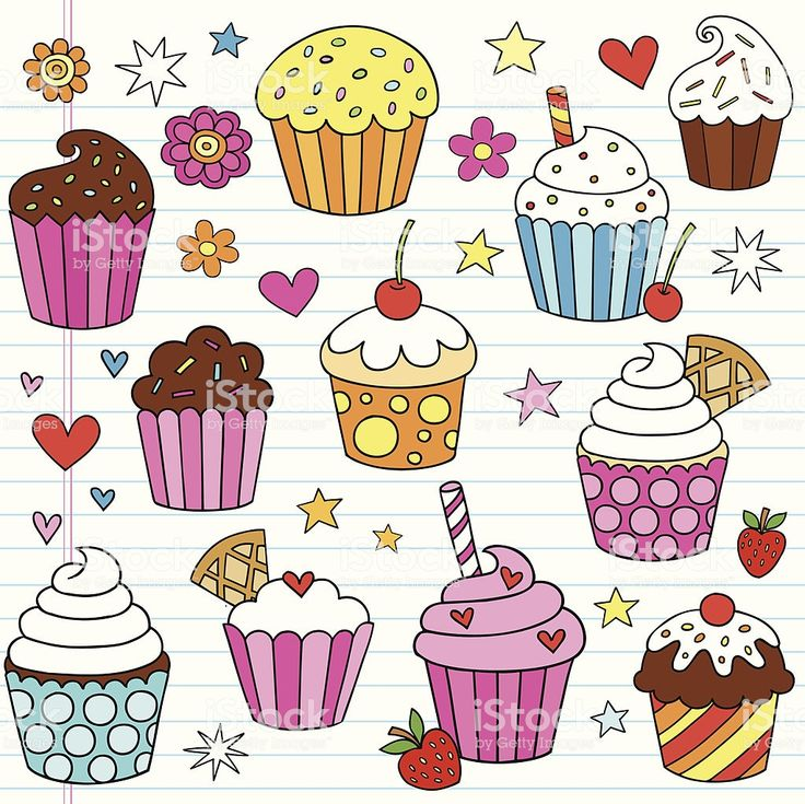 Hand-drawn Cute Tasty Birthday Cupcake Dessert Notebook Doodles with…