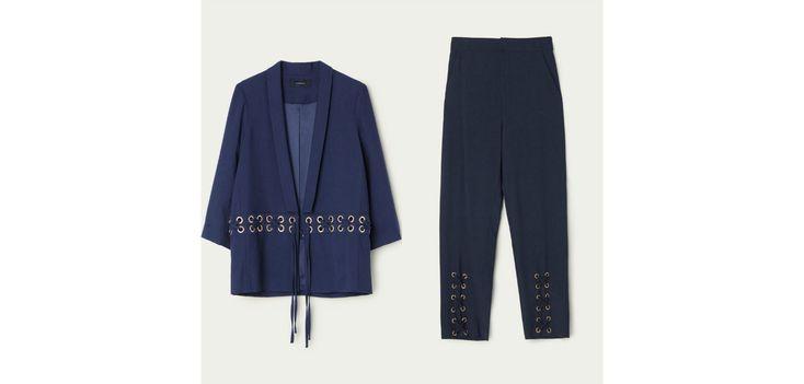 Uterqüe, 150€ la veste et 110€ le pantalon.