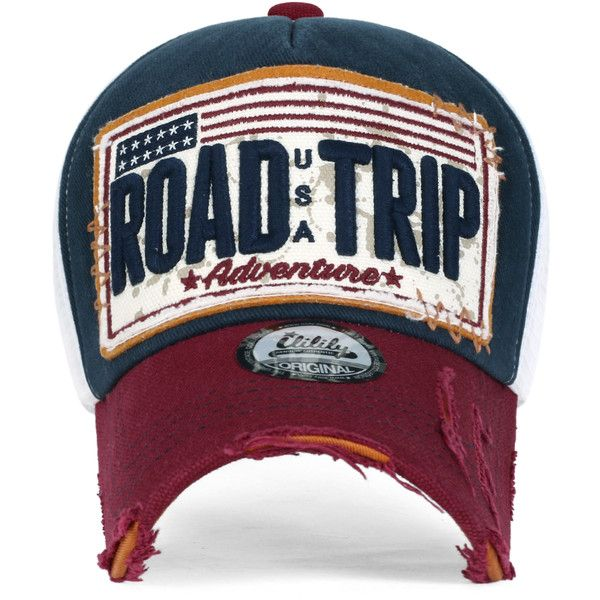 ililily ROAD TRIP Vintage Distressed Snapback Trucker Hat Baseball Cap ($14) ❤ liked on Polyvore featuring accessories, hats, vintage trucker cap, trucker hats, vintage baseball hats, vintage hats and vintage ball caps