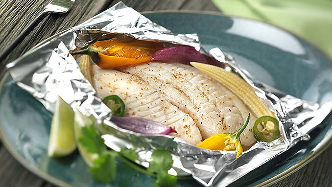 Foil Pouch Roasted Fish Fillet - easy bariatic eating for summer. Moist and high protein, lots of flavor.