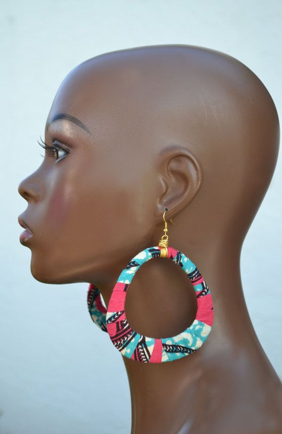 African Wax Fabric Bangle and Earrings Set by MarcieRoxx on Etsy, $28.00