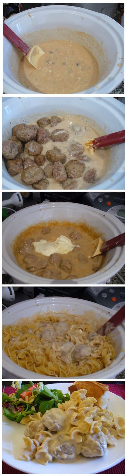 Meatball Stroganoff in a crockpot