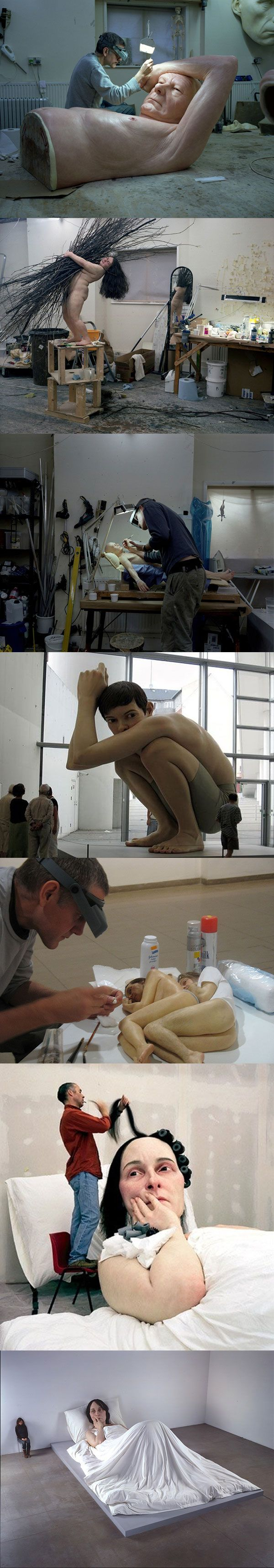 Ultra realistic human sculptures by Ron Mueck but non-standard scales. I'm torn between admiration and a strange feeling when I look at the photos.