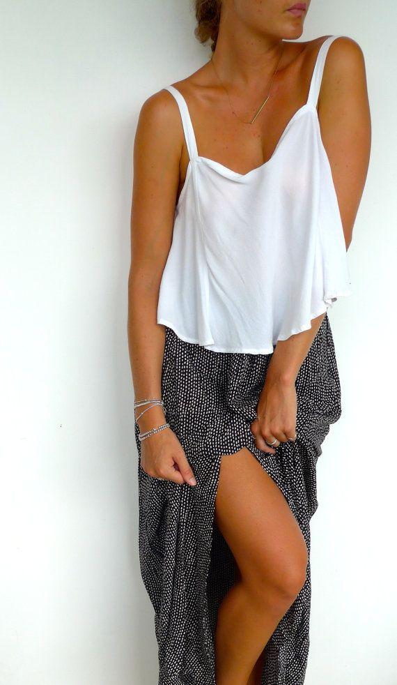 Black & White Rectangle Maxi Skirt  High Side by ljcdesignss