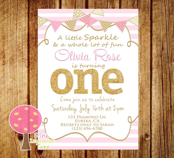 Pink and Gold First Birthday Party Invitation, Gold Glitter, One, Pink Stripes, Personalized, First Birthday, Sparkle by PinkLemonadeTree on Etsy https://www.etsy.com/listing/261891722/pink-and-gold-first-birthday-party